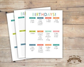 Write in Birthday List, Organizer, Calendar