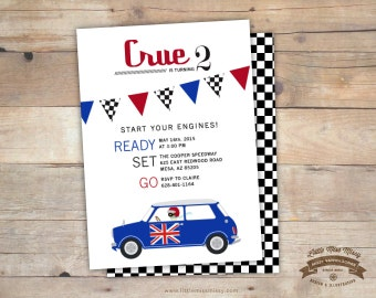 Vintage Mini Cooper, Race Car, Birthday, Baby Shower Invite- 5x7 DIY