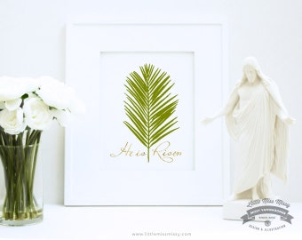 He is Risen, Religious Art in Green and Gold by Little Miss Missy