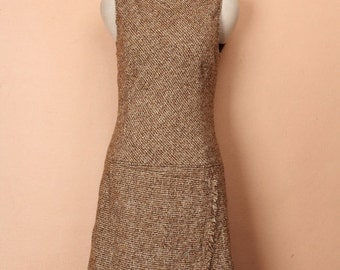 90s Light Brown Elegant Wool Jumper Skirt