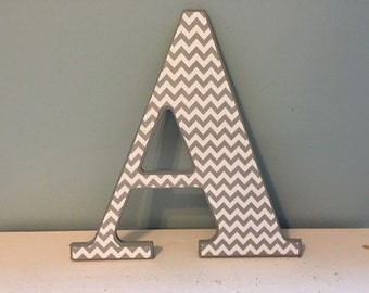 "Grey and white chevron ""A"" wall letter/wall decor/initial"