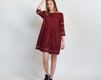SALE 30% OFF Embroidered Trim Midi dress, Burgundy
