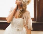 Blush Bridal Capelet, Blush Lace Bridal Shurg, Bridal Cover Up, Cape, Capelet, Victorian Cape, Taupe Venice Lace, Blush Cape HARMONY ROSE