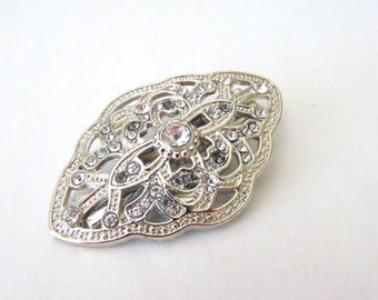 Art Deco Clear Pave Rhinestone Silver Bridal Hair Clip, Great Gatsby, Art Deco, Downton Abbey, Bridal Accesory, Rhinestone Barrette DAISY