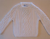 Bright White Irish Celtic Knot Baby Sweater 12-18 months