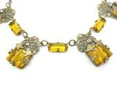 Czech Art Deco Necklace. Topaz Step Glass, Marcasites, Gilt Filigree.  Vintage 1920s Art Deco Jewelry. Ornate Antique Choker Necklace.