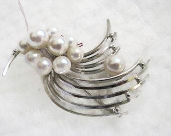 Mid-Century Hollywood Regency Stunning STERLING genuine PEARL pin brooch