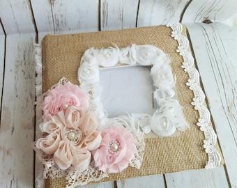 Custom Album - Wedding/Anniversary Album - Handmade Shabby Chic White and Pink, Baby Girl Photo Album, Roses Burlap Album