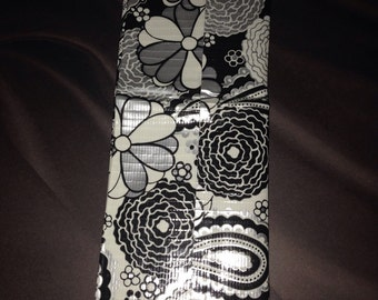 Black and white flower duct tape wallet
