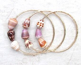 Triple Cone Shell Bangle, Gold Hammered Bracelet, 3 Small Hawaiian Shells, Hawaii Beach Jewelry,  Gift Idea, Handmade Maui, Mermaid