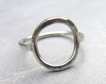 Open Circle Ring Sterling Silver Hammered, Unity Infinity Universal Symbol, Minimalist, Handmade Maui Jewelry, Girls Gift Idea, Boho Fashion