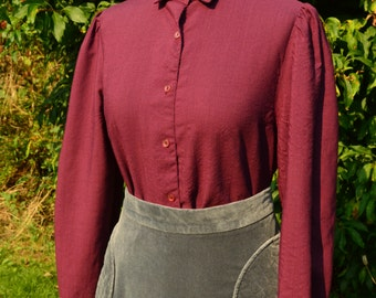 70s plum wool blouse by Slimma size M