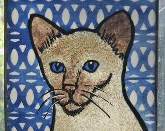 Stained Glass Cat  Suncatcher Siamese JRNcat66