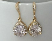 Gold and crystal earrings, bridal jewelry, wedding jewelry,  gold and rhinestones, golden dangle earrings