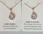 Mother of the bride or mother of the groom rose gold and crystal necklace