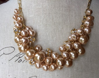 Champagne pearl necklace on gold chain with rhinestones, bridesmaid necklace, wedding jewelry, chunky pearl necklace
