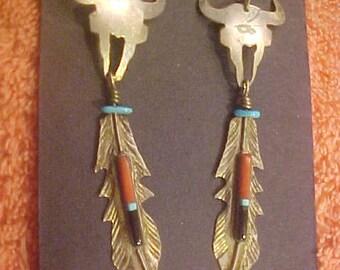Barneys Earrings 925 Native American Vintage 60s Sterling Silver