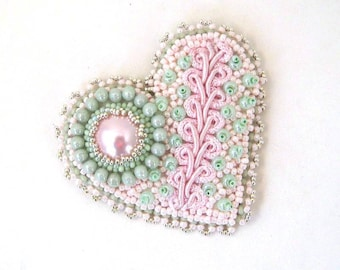 Bead embroidered brooch, Beaded heart brooch, Heart brooch pin, Gift for women, Mint Green and pink