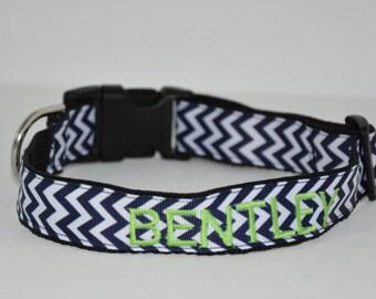 Personalized Dog Collar - Navy Chevron
