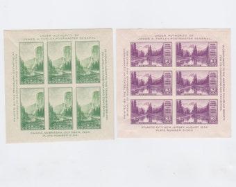 Mint 1934 US Postage Stamp Mt. Rainier And Yosemite Souvenir Sheets