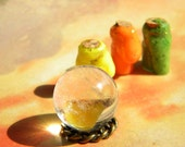 3 Miniature Dollhouse POTION Bottles and a Real Quartz CRYSTAL Ball HALLOWEEN Witch Decor Spooky Miniatures
