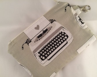 Black and White Typewriter Zippered Pouch, Notions Case, Wallet