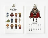 2016 Calendar Star Wars (A) , Christmas Gift , New Year Gift, Nursery Art, Children Room Decor 4 x 6 or 5x7