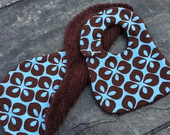 Blue & Brown Bib and Burp Cloth Set
