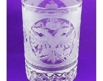 Beautiful Russian Rare Crystal SHOT GLASS with Double Headed Imperial Eagle.  Hand etched in St Petersburg Russia.Great quality workmanship