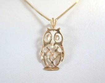 SALE: 14kt Yellow Gold Owl Pendant