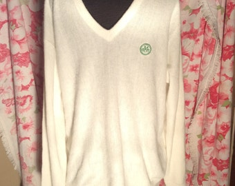 Pickering men large ivory v-neck golf sweater--Monogrammed with green M