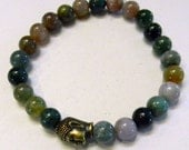 Spiritual Bracelet, Yoga Bracelet, Fancy Jasper Bracelet, Buddha Head Bracelet, Stretch Bracelet, Chakra Bracelet
