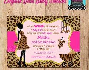 LEOPARD DIVA baby shower - you print