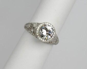 Magnificent Edwardian Platinum and Diamond Ring 1.15 carats
