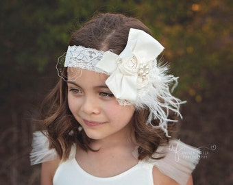 girls couture headband, white rosette baby headband, feather headband, lace girls headband, newborn headband, infant girls headband, baby
