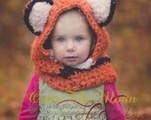 Fox hat,Kids Fox Hat, Kids Fall Winter Hat, Fox Hood, crochet Cowl Fox, Animal Hat with ears, Hooded Cowl, crochet Fox Hood, Unique Kids