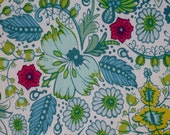 """Fabric 1 Yard  LITTLE FOLKS VOILE Coloring Garden Sea 54/55"""" Wide  Anna Maria Horner Floral Waves Quilting Sewing"""