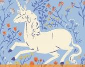 Fabric 1 Yard FAR FAR AWAY Heather Ross Fantasy Unicorn 39657-3 Blue Windham Quilting Sewing 1 Yard