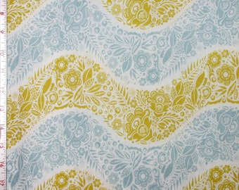 """Fabric 1 Yard  LITTLE FOLKS VOILE Village Path Sea 54/55"""" Wide  Anna Maria Horner Floral Waves Quilting Sewing"""