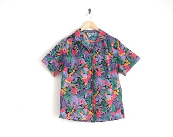 90s Tropical Floral Shirt. Pink Purple Floral Print Button Down Shirt with Parrot Print. Hipster Hawaiian Shirt. Unisex Mens Vintage Shirt.