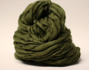 Handspun Merino Wool Yarn Thick and Thin Slub Olive 03