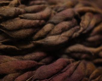 Handspun Thick and Thin Merino Wool Yarn Slub  tts(tm) Merino Hand dyed Two-Pounder Dark Brown Extra Super Bulky