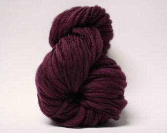 Hand Spun Merino Thick and Thin Yarn Bulky Wool Slub  Hand Dyed tts(tm) Black Rose 000x