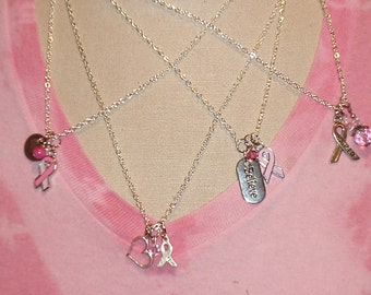 Breast Cancer Awareness Choose Your Own CUSTOM 3 charm Necklace