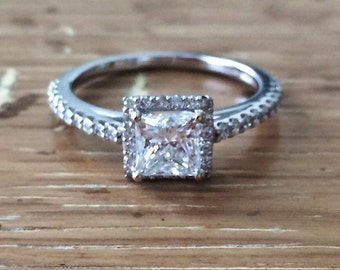 Princess Cut Diamond -Diamond Ring-Princess Engagement Rings-Halo Engagement Ring - 1 carat Diamond Ring-bskdesigns-Jewelry Rings