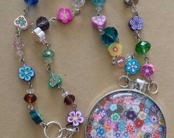 Sale was 27 now 25uk Multicoloured very Large Floral Faux Mille Fiori Pendant on bead and Flower bead Necklace.