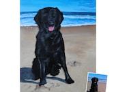 12x16 painting from photo custom pet portrait on canvas hand painted dog cat black labrador retriever