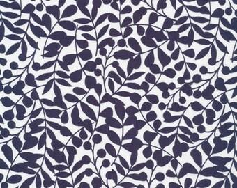 First Light Branch in Navy, Eloise Renouf, 100% GOTS-Certified Organic Cotton, Cloud9 Fabrics, 134512