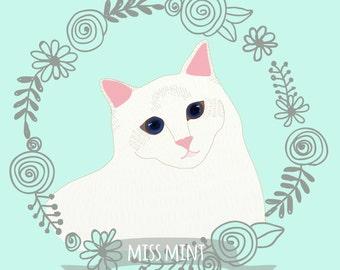 Miss Mint. Custom pet portrait