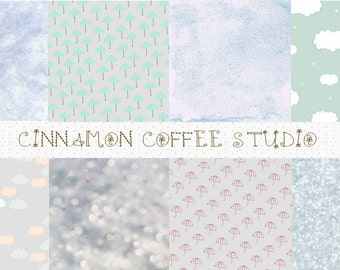 Rainy Day Digital Papers, Rain and Clouds Texture, Rain Backgrounds, Cute Cloud Rain Digital Papers